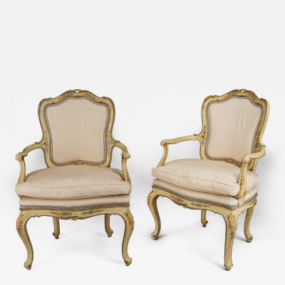 Pair of Venetian Creame Fauteuils with Original Paint