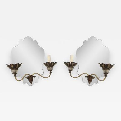 Pair of Venetian Mirrored Back Two Arm Sconces