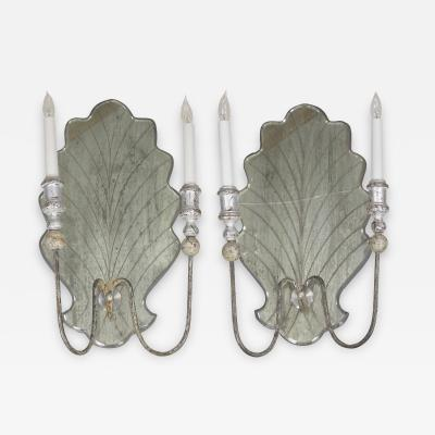 Pair of Venetian Style Silver Gilt Eglomis Glass Candelabra Wall Sconces