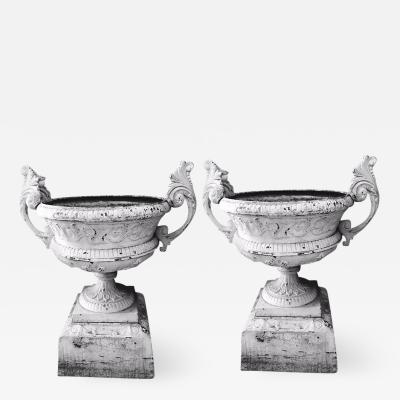 Pair of Victorian Cast Iron Urns Stamped Kramer Foundry