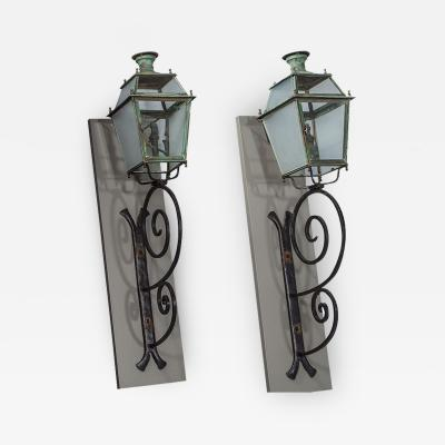 Pair of Victorian Style Iron and Glass Parisian Street Lanterns