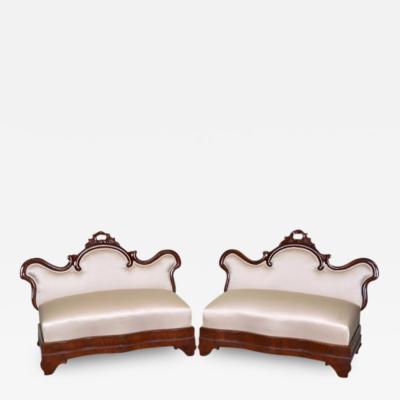 Pair of Victorian Window Seats Slipper Settees 19th Century
