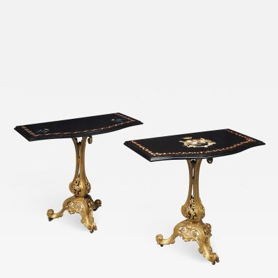 Pair of Victorian gilt cast iron console tables with marble tops