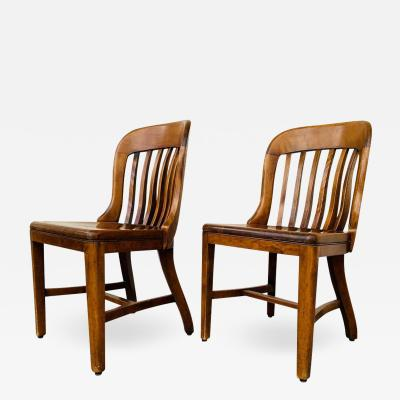 Pair of Vintage Bankers Chairs by Sikes of Buffalo N Y