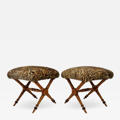 Pair of Vintage Biedermeier Style X Stools with Faux Fur Upholstery