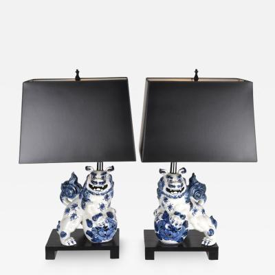 Pair of Vintage Foo Dog Lamps
