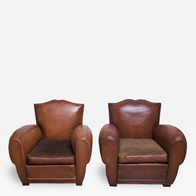 Pair of Vintage French Leather Mustache Club Chairs