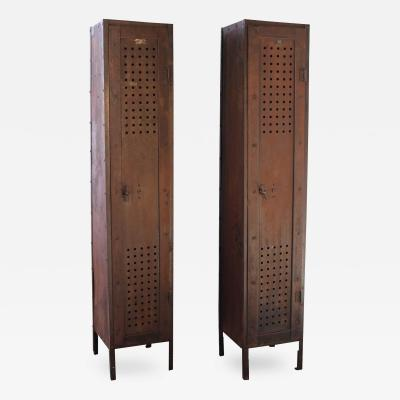 Pair of Vintage Industrial Steel Gym Storage Lockers