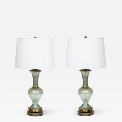 Pair of Vintage Iridescent Glass Table Lamps on Brass Plated Stand