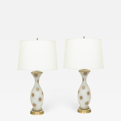 Pair of Vintage Italian Glass Table Lamps on Brass and Lucite Bases