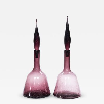 Pair of Vintage Italian Mid Century Amethyst Art Glass Decanters