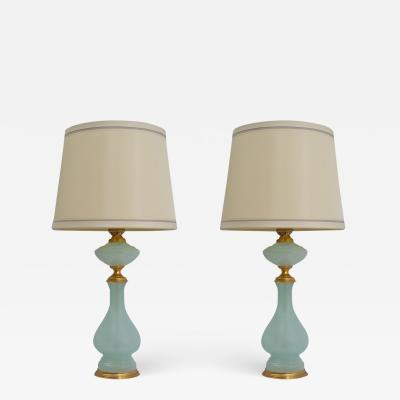 Pair of Vintage Italian Opaline Glass and Bronze Lamps