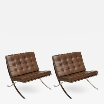Pair of Vintage Leather Brown Barcelona Chairs