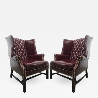 Pair of Vintage Leather Tufted Wingback Chairs