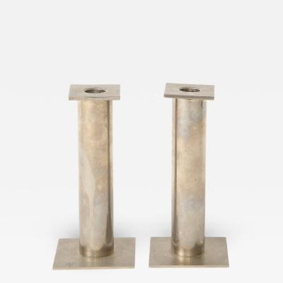 Pair of Vintage Modernist Chrome Candle Holders
