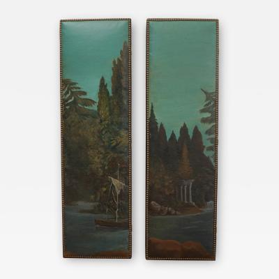 Pair of Vintage Painted Canvas Panels