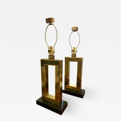 Pair of Vintage Sculptural Brass Lamps