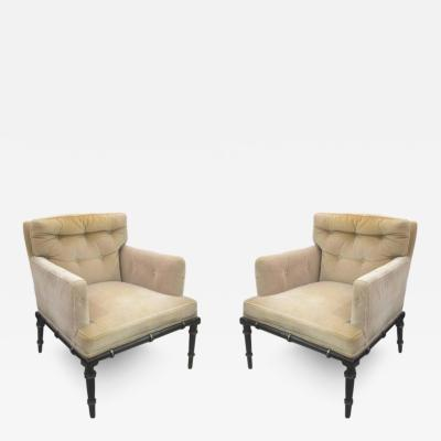 Pair of Vintage Upholstered and Ebonized Faux Bamboo Armchairs