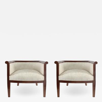 Pair of Walnut Art D co Club Chairs