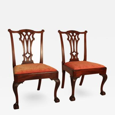 Pair of Walnut Chippendale Chairs