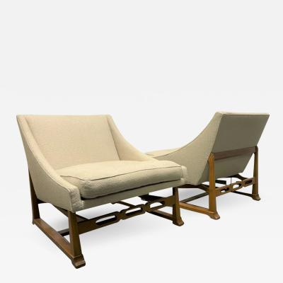Pair of Walnut Sculptural Lounge Chairs in Boucle Fabric