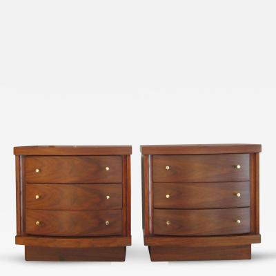 Pair of Walnut Three Drawer Side Tables with Curved Fronts