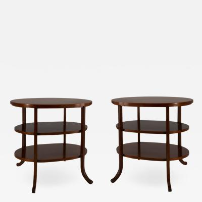 Pair of Walnut Three Tiered Side TAbles