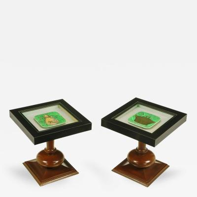 Pair of Walnut and Black Micarta Display Tables with Fornasetti Plates
