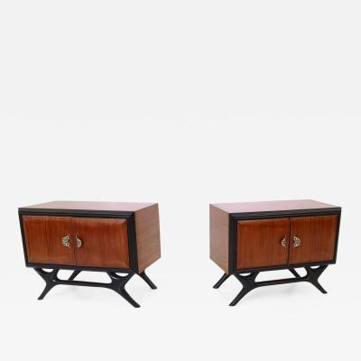 Pair of Walnut and Ebonized Wood Nightstands with Painted Handles Italy 1950s