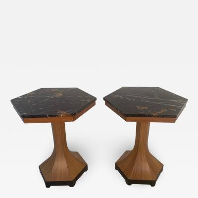 Pair of Walnut and Marble Top Pedestal Tables