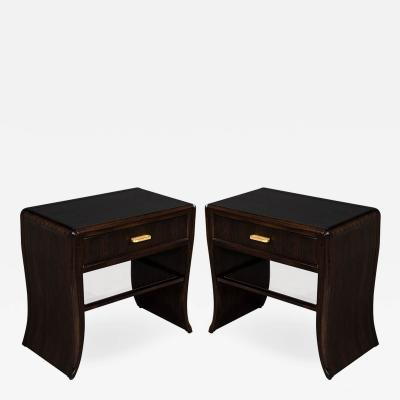 Pair of Water Fall Mozambique and Mahogany Night Stands
