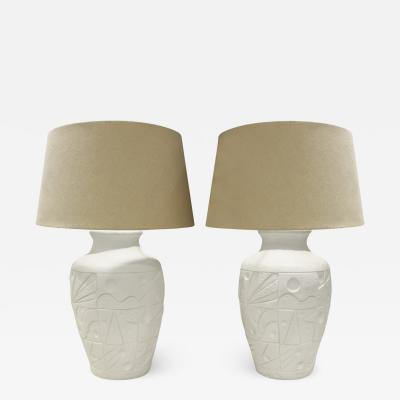 Pair of White Ceramic Table Lamps with Gemotric Motif 1980s