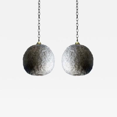 Pair of White Glass Thread Globe Pendant Lights