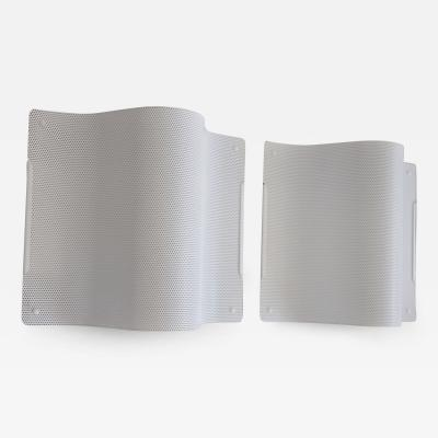 Pair of White Lacquered Perforated Metal Wall Lamps by Lindau Lindekrantz
