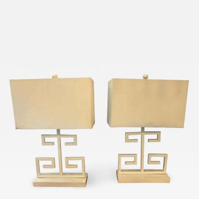 Pair of White Modern Art Deco Style Table Lamps With Shades by Safavieh