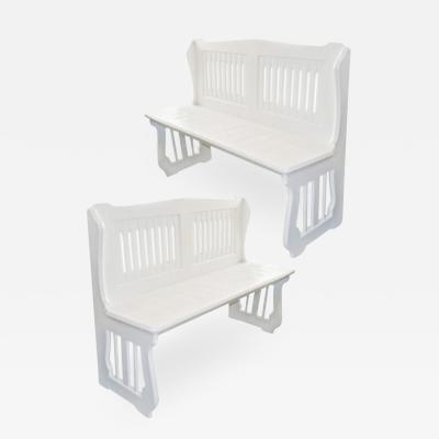 Pair of White Painted Benches