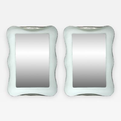 Pair of White Plaster Mirrors with Silver Gilt Side Trim