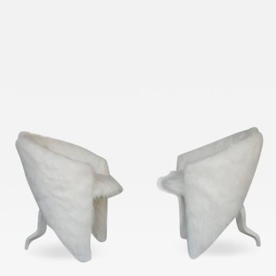 Pair of White Surreal Faux Fur Lounge Chairs