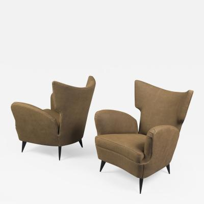 Pair of Wingback Armchairs Italy 1950s