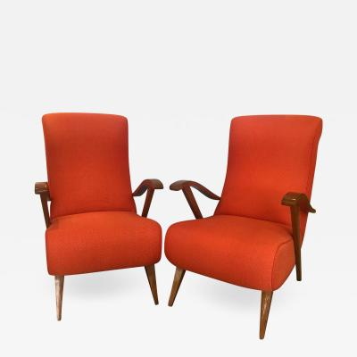 Pair of Wood Frame Arm Chairs
