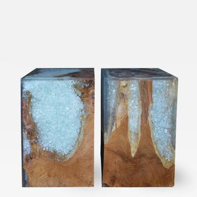 Pair of Wood Stools Encased in Resin