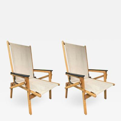 Pair of Wood and Suede Folding Armchairs Italy 1950s