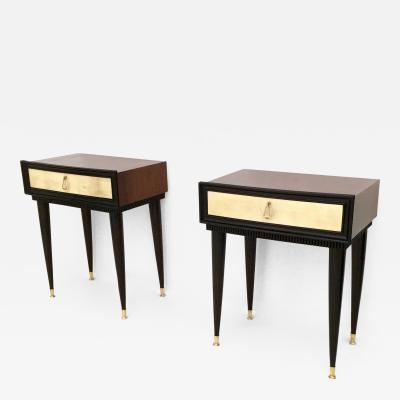 Pair of Wooden Nightstands with Parchment Drawers Italy 1950s
