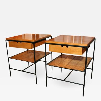 Pair of Wrought Iron Frame Nightstands by Paul McCobb