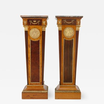 Pair of antique English Neoclassical style ormolu mounted pedestals