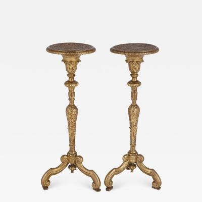 Pair of antique French giltwood torch re stands