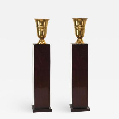 Pair of art deco pedestal with gold lamp