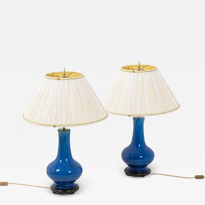 Pair of baluster lamps in ceramics 1970 s