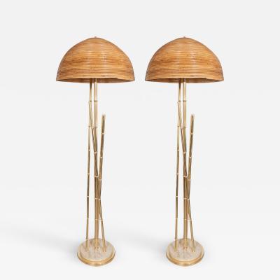 Pair of bamboo motif floor lamp