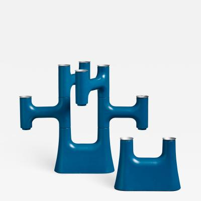 Pair of blue candle holders